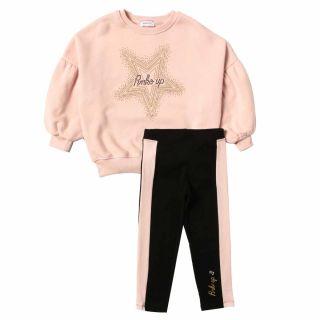 Girls Pink Sweatshirt With Legging Set