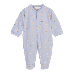 Giraffe Printed Blue Baby Romper