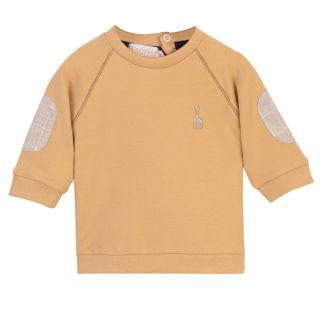 Brown Raglan Sleeve Baby Sweatshirt With Elbow Patch