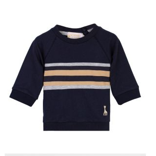 Raglan Sleeve Navy Sweatshirt With Stripes On Chest