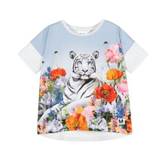 Grey Floral Tiger T-Shirt