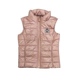 Girls Pink Shiny Sleevless Jacket