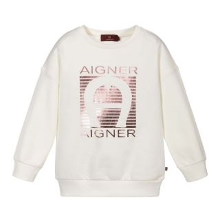 Girls Ivory & Pink Logo Sweatshirt