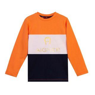 Boys Orange & White Color Block Full Sleeve T-shirt
