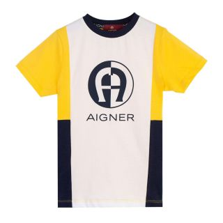 Boys Yellow & White Color Block T-shirt