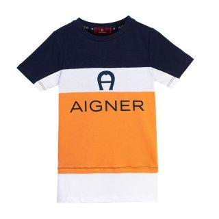 Boys Navy Blue & Orange Color Block T-shirt