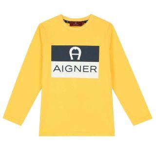 Boys Yellow Logo Long Sleeve T-shirt