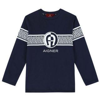 Boys Navy Logo Long Sleeve T-shirt