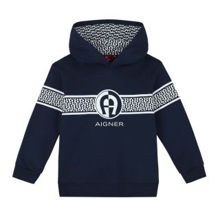 Boys Navy Blue Logo Hoodie
