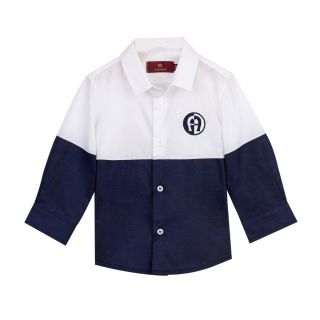 Boys Navy & White Color Block Shirt