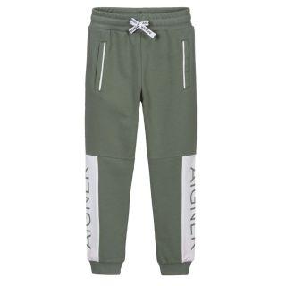 Boys Green Cotton Logo Joggers