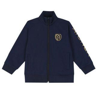 Boys Navy Logo Zip Up Jacket