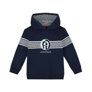 Baby Boys Navy Blue Logo Hoodie
