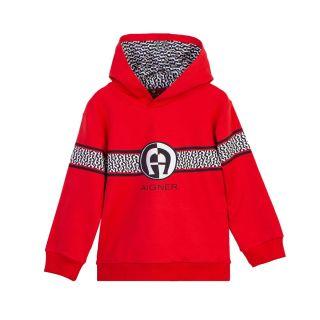 Baby Boys Red Logo Hoodie