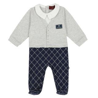 Baby Boys Grey & Navy Logo Babygrow