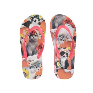 Teen Pink Cat Flip Flops