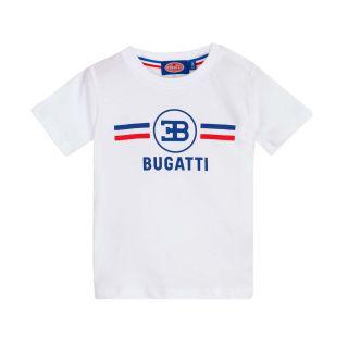 Boys Logo T-Shirt with Flag Stripes in White