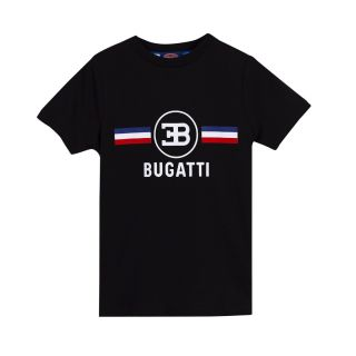 Boys Logo T-Shirt with Flag Stripes in Black