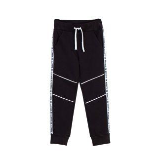 Boys Logo Stripes Drawstring Black Track Pants