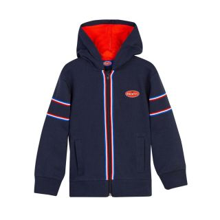 Boys Striped Navy Blue Hooded Jacket