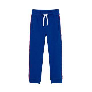 Boys Logo Stripe Drawstring Blue Track Pants