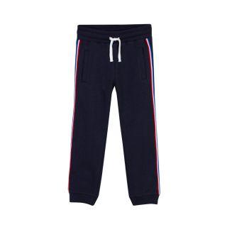 Boys Logo Stripe Drawstring Black Track Pants