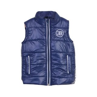 Bugatti Blue Zipped Baby Boy Sleeveless Jacket