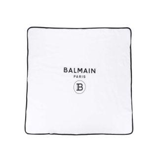 White Cotton Logo Print Blanket