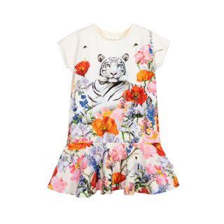 Ivory Floral Tiger Dress