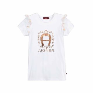 Golden Logo With Organza Ruffle Trim With A Gold Heart pattern T-Shirt