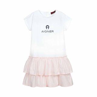 White & Pink Logo Dress