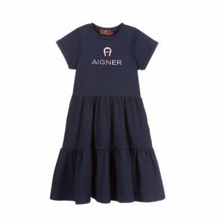 Navy Blue Cotton Jersey Dress