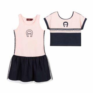 Pink & Navy Blue Dress Set