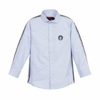 Pale Blue Logo Tape Cotton Shirt