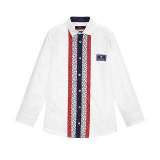 White Striped Logo Print Shirt