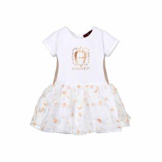 White Cotton & Logo Baby Dress