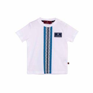 Baby Boys White & Blue Logo T-Shirt