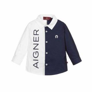 White & Navy Blue Baby Shirt