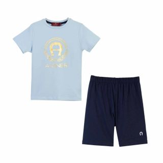Golden Logo T-shirt With Blue Shorts