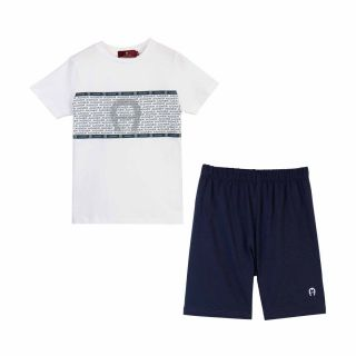 White & Navy Blue Shorts Set