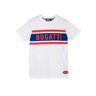 Blue and Red Bugatti Logo Print T-shirt