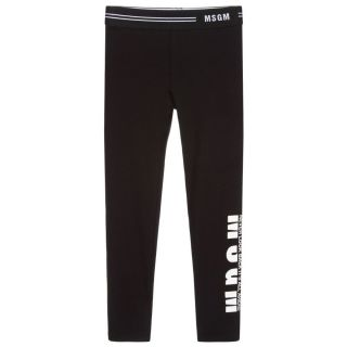 Black Cotton Logo Leggings