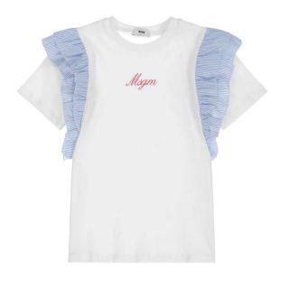 Teen White Ruffle Logo T-Shirt