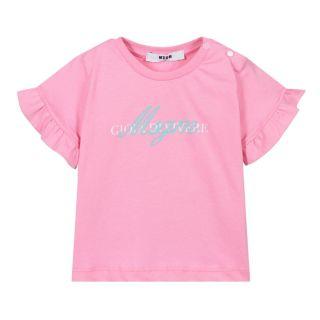Pink Cotton Logo Baby T-Shirt
