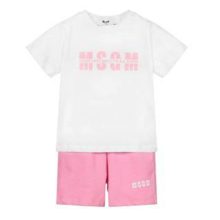 White & Pink Baby Shorts Set