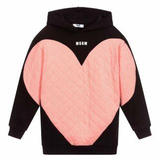 Girls Black & Pink Cotton Hoodie