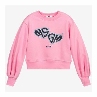 Girls Pink Cotton Cropped Sweatshirt