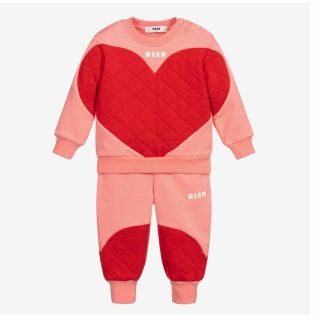 Girls Coral Pink & Red Tracksuit