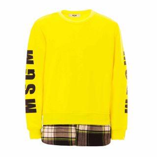 Boys Fluo Yellow Sweatshirt With Logo