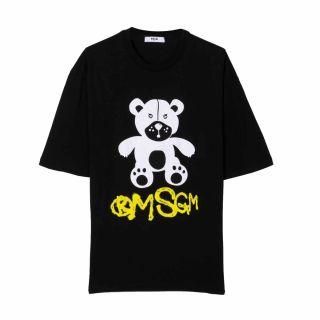 Unisex Teddy Bear Logo Print Black T-shirt